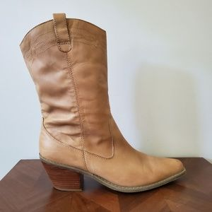 Vintage tan leather cowgirl boots size 9m